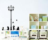 Черный кот под дорогой лампы играть стены стикеры Гостиная Спальня наклейки на стены съемный ПВХ стены искусства росписи плакат Обои Декор