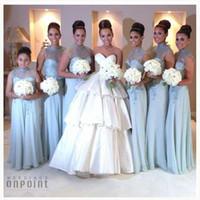 Прозрачные платья для подружек невесты с длинными шеями 2016 с короткими рукавами и кружевными шифоновыми бретельками на спине Небесно-голубые платья для подружек невесты