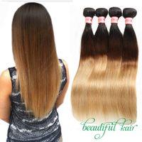 Cheveux blonds brésiliens vierges raides Extensions de cheveux humains Ombre 1B / 27 1B / 30 1B / 99J 1B / 4/27