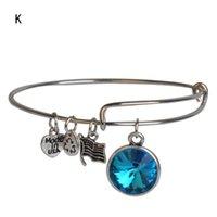 """Mode Birthstone charme Bracelet Bracelet pour les femmes bijoux Bar Acier inoxydable extensible breloques Bracelet Bracelet 7.75 """"br-1427"""