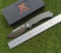 X- CARVED folding knifeBall bearing D2 blade Titanium handle ...