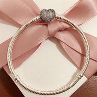 100% argent sterling 925 bracelet de départ de serpent avec le fermoir coeur s'adapte au charme de bijoux de style européen et à la perle