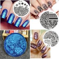 JQ-series 10pcs Nuovo acciaio inossidabile rotondo Manicure Template Nail Art stampa polacco timbro immagine modello di piastra