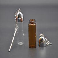 Bouteille de verre Snuffs Hauteur 72mm Distributeur Bullet Rocket Rocket Snorter Pill Boîte Boîte Snuff Snorter Case Sniffer avec Scrèchoir en métal