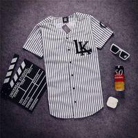 Оптово-2020 мужская мода V-образного вырез Hip Hop Tyga SWAG Последней Короли футболка рубашка бейсбол рубашка Люди лето полоса buttoms футболки Free