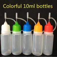 10 ml ecig botellas E-líquido cuentagotas botella de plástico botella multicolor cigarrillo electrónico botellas de jugo vacías envío gratis