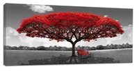 YIJIAHE Painting Modern Wall Art, Abstract Red Tree Print on ...