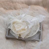 우아한 신부 액세서리 깃털 화이트 Purlple 블랙 레드 Fuchsia 아름다운 웨딩 용품 화려한 새 신부 모자