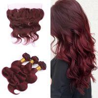 Бордовый 99J бразильские девственные человеческие волосы 3Bundles с кружевной фронтальной свободной части тела волны волнистые наращивание волос с верхней фронтальной кружева 13x4