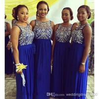 Vestido de fiesta plisado azul gasa hasta el suelo cuello redondo noche vestidos de fiesta 2015 lentejuelas vestidos de dama de honor largo moda superior vestidos formales