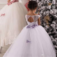 Flower Girls' Dresses Lace Appliques Ball Gowns Long Dr...