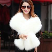 Kış Düğün Ceket Gelin Faux Kürk Sarar Sıcak Sopa Şallar Giyim Siyah Gary Beyaz Sarktı Kadın Ceket Balo Akşam Stokta Ucuz