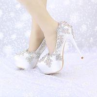 Satin Hochzeit High Heels AB Farbe Kristall Runde Kappe Brautkleid Plateauschuhe Bankett Pageant Party Pumps Einzelne Schuhe