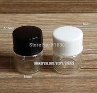 50 x 1 ml Klare transparente Probe Glasfläschchen Kleine ätherische Ölflasche mit weißen schwarzen Deckeln