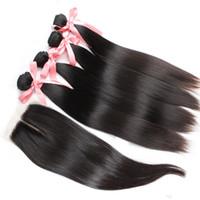 레이스 폐쇄가있는 Greatreemy Human Hair Bundles 스트레이트 100 % 인간의 hairweft 직조 버진 헤어 런처 4x4 중간 부분