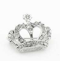1 Pulgadas Vintage Look Rhodium Silver Plating Clear Rhinestone Crystal Diamante Crown desfile Regalo Pins Broche