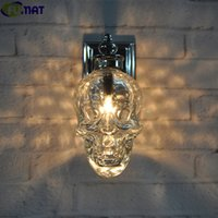 FUMAT Retro Industrial Loft Wall Lamps Glass Skull Bottle Li...