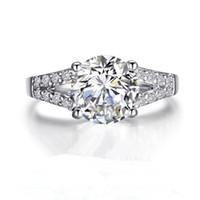 2Ct SONA 합성 다이아몬드 여성용 반지 웨딩 밴드 약혼 반지 실버 화이트 골드 도금 사랑스러운 약속 프롱 설정