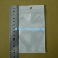 "8x14cm (3.1 ""x5.5"") Weiß / Clear Selbst Seal Resealable Reißverschluss Plastikklein Verpackung Beutel Zipper-Verschluss-Beutel-Kleinpaket mit Fall-Loch"