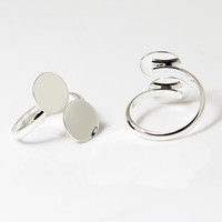 BeadSnice Ring blanco bevindingen met twee 12mm lijm op pad verstelbare mode-sieraden instellen ringbasis voor glazen cabochons ID 27967
