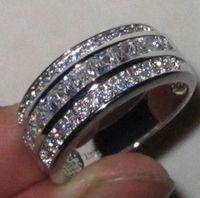 Victoria Wieck Jewelry Fashion 10kt oro bianco riempito zaffiro con diamante simulato Diamante da sposa Princess Circle Band Anello per le donne Dimensioni regalo 5-11