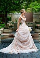 Румяна розовые свадебные платья мечтали стороне драпированные органзы бальное платье 2015 vestidos де новия V-образным вырезом Принцесса платье невесты подгонять