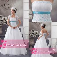 Новый дизайн без бретелек 2015 империи талии свадебные платья с голубой бисером аппликация атласная лента плюс размер свадебные PartyGowns WDH1-476
