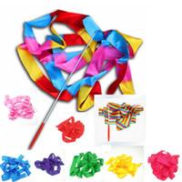 Fita Dança Ballet colorido aptidão Fitas dança da fita Ginásio Ginástica Rítmica Art Streamer Twirling Rod 9 cores Venda