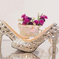 Zilveren Rhinestone Middenhak Trouwschoenen Sapatos Femininos Dames Party Prom Schoenen Valentine Crystal Pumps Bruidsmeisjes Schoenen