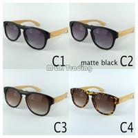 Nouvelles lunettes de soleil en bois noir lunettes de soleil vintage pour les femmes et les hommes grand cadre en plastique bambou temples