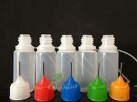 도매 - 200pcs 5 ml 플라스틱 바늘 병 PE 플라스틱 Dropper 병 금속 팁 모자 전자 액체 바늘 병 빈 병