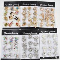 12PCS Disegno misto Piccolo fiore Spille Torta spilla Carino collare spilla Pins Stunning Diamante Costume donna Pins