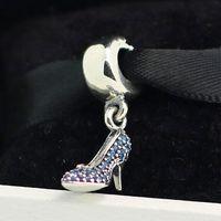 Стерлингового Серебра 925 Золушка Сверкающие Тапочки Мотаться Шарм Шарик Подходит Европейский Pandora Ювелирные Изделия Браслеты Ожерелья Подвески