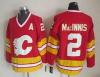 ¡Calidad superior! Hombres Calgary llamas hockey sobre hielo Jerseys barato 2 Allan MacInnis rojo blanco retro Vintage CCM cosido jerseys orden de la mezcla!