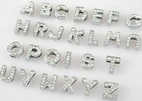 Wholesale 10mm 130pcs lot A- Z full rhinestones Slide letters...