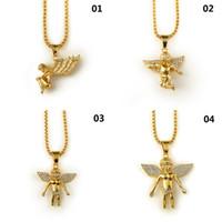 Новый 18k позолоченный мальчик Ангел девушка Ангелы кулон микро Ангел кусок Ожерелье для мужчин женщин хип-хоп Шарм ювелирные изделия Бесплатная доставка
