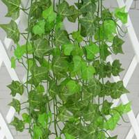 230 cm / 7.5 pés de comprimento Plantas Artificiais Verde Hera Folhas Videira Artificial Uva Folhagem Folhagem Decoração de Casamento Em Casa