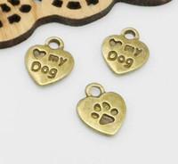 500pcs bronzo antico mini cuore amore mio cane pendente di fascini per monili che fanno 10x12mm