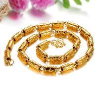 Schneller kostenloser Versand Fein Großhandel - 24k Gold gefüllt Bambus Halskette direkt ab Werk Länge: 50cm Gewicht: 57.5g billig Panzerkette