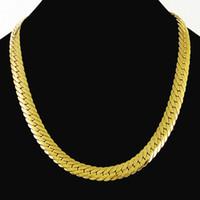 Schnelles freies Verschiffen Feiner wedding Jewelry New echte 24K Goldhalskettenkette wilde einfache Art und Weise ultra-preiswerter Großverkauf elegant