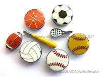 10PCS 8mm 에나멜 스포츠 슬라이더 매력 농구 야구 축구의 매력은 8mm DIY 팔찌 팔찌 애완 동물 칼라 여성 보석에 맞게