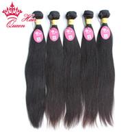 Loja oficial do cabelo da rainha Extensões retas do cabelo virgem peruano 12inch para 28inch 5 pcs cabelo humano não processado remy,