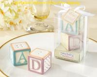 (60 шт./лот=30 комплектов=30 коробок) новый ребенок на блоке керамические блоки соль и перец шейкеры для ребенка подарок и ребенок День Рождения пользу