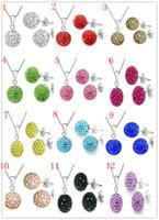 مجموعة مجوهرات الزفاف قلادة القرط Shamballa 925 الفضة مطلي حجر الراين 12 الألوان اختيار لحرية الملاحة امرأة