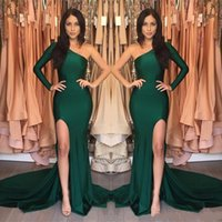 2020 New Latest One Shoulder Green Mermaid Long Evening Dres...