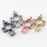 5PCS Lot!!Hot Crosses Shape Magnetic Glass Floating Locket P...