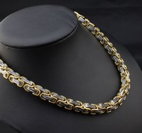 Bracciale da uomo pesante Catena bizantina Set di bracciali in oro bicolore