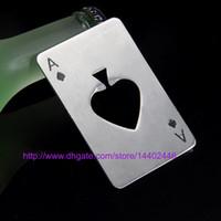 포커 카드 에이스 심장을 재생 무료 배송 50PCS 스테인리스 소다 맥주 레드 와인 캡 오프너 바 도구 병 뚜껑 오프너 수 모양