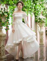 Винтажный Стиль Высокие Низкие Свадебные Платья С Плеча Половина Рукава Цветочный Пояс Кружева Органзы Короткие Frong Длинные Спинки Свадебные Платья На Заказ W686