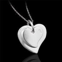 Monili economici di moda in argento sterling 925 doppio cuore pendente collana regalo di san valentino per ragazze spedizione gratuita